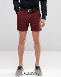 Noose And Monkey Skinny Shorts In Cotton Sateen Plum Red