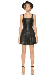 The Kooples Buckled Pleated Smooth Leather Dress