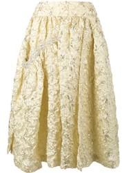 Simone Rocha Embroidered Flared Midi Skirt Metallic