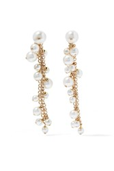 Lanvin Gold Plated Faux Pearl Earrings One Size