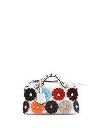 Fendi Small By The Way Studded Flower Satchel Bag White Pattern