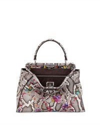 Fendi Peekaboo Medium Floral Python Satchel Bag Natural Multi