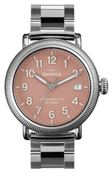 Shinola 'The Runwell' Leather Bracelet Watch 38Mm Silver Pink
