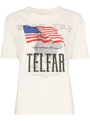 Telfar Simple Tour Boxy Fit Short Sleeved Cotton T Shirt Neutrals