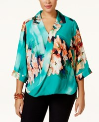 Ny Collection Plus Size Printed Draped Faux Wrap Blouse