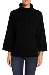 Petite Women's Vince Camuto Ribbed Turtleneck Sweater Rich Black