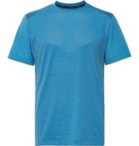 Nike Running Tech Pack Perforated Stretch Jacquard Knit T Shirt Storm Blue
