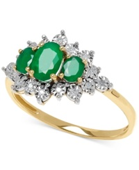 Macy's Emerald 3 4 Ct. T.W. And Diamond Accent Ring In 10K Gold