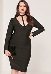 Missguided Plus Size Harness Neck Bandage Bodycon Dress Black