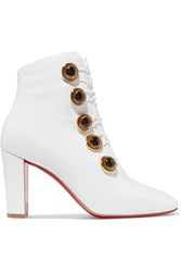 Christian Louboutin Lady See 85 Patent Textured Leather Ankle Boots White