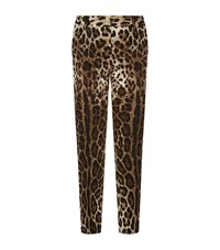 Dolce And Gabbana Leopard Print Slim Denim Trousers Female Brown