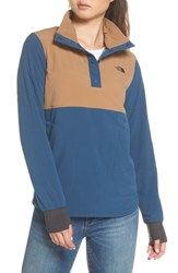 The North Face Mountain Snap Neck Sweatshirt Blue Wing Teal Cargo Khaki