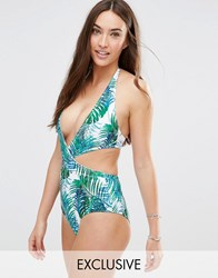 Wolf And Whistle Tropical Print Deep Plunge Swimsuit Multi