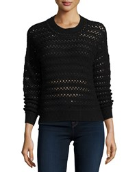 J Brand Flower Long Sleeve Crochet Sweater Black