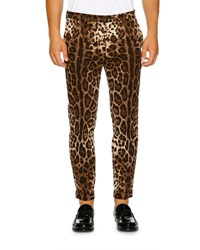 Dolce And Gabbana Leopard Print Stretch Cotton Trousers Brown