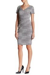 Nydj V Neck Tweed Jacquard Bodycon Dress Petite Gray