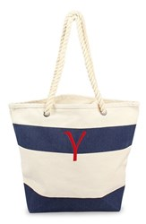 Cathy's Concepts Personalized Stripe Canvas Tote Blue Navy Y