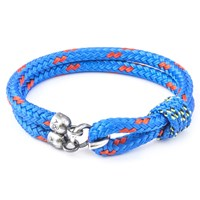Anchor And Crew Great Yarmouth Rope Silver Braceletsolid Blue