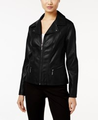Alfani Faux Leather Moto Jacket Only At Macy's Deep Black