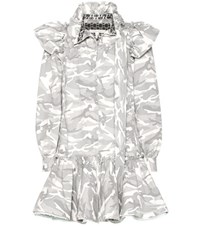 Marc Jacobs Babydoll Camouflage Printed Cotton Dress Grey