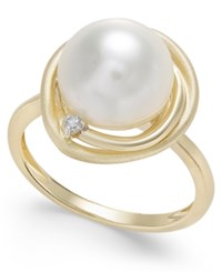 Macy's Cultured Freshwater Pearl 10Mm And Diamond Accent Swirl Ring In 14K Gold White