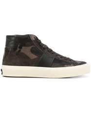 Tom Ford Leather Trim Camouflage Sneakers Green