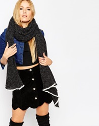 Asos Oversized Knit Rib Scarf With Contrast Tipping Charcoal
