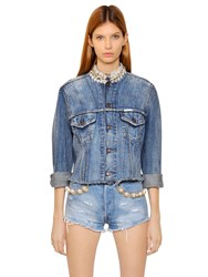 Forte Couture Embellished Frayed Cotton Denim Jacket