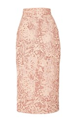 J. Mendel Guipure Lace Pencil Skirt Pink