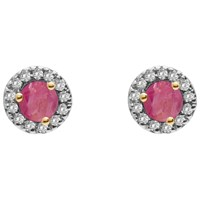 A B Davis 9Ct Gold Diamond And Precious Stone Round Stud Earrings Ruby