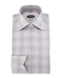 Tom Ford Slim Fit Twill Plaid Bicolor Dress Shirt Gray