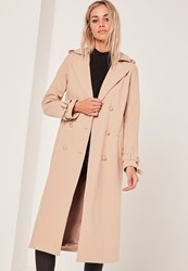 Missguided Military Faux Wool Trench Coat Nude