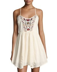 Band Of Gypsies Romantic Floral Embroidered Babydoll Dress White Pattern