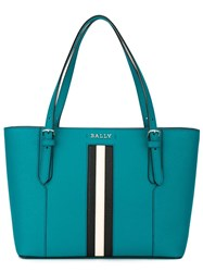 Bally Stripe Detail Tote Blue