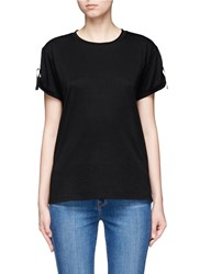 Helmut Lang Back Strap Cotton Cashmere T Shirt Black