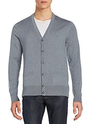 Saks Fifth Avenue Merino Wool Cardigan Sweater Light Grey