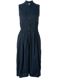 Kristensen Du Nord Button Fastening Sleeveless Dress Blue
