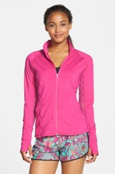 Asics 'Fit Sana' Mesh Inset Training Jacket Pink
