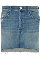 Mother The Step Distressed Stretch Denim Mini Skirt Mid Denim