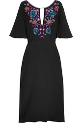 Matthew Williamson Sakura Embroidered Silk Crepe De Chine Midi Dress Black