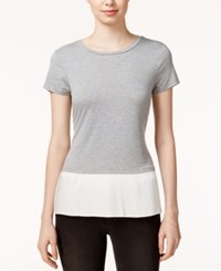 Maison Jules Pleated Contrast Top Only At Macy's Grey