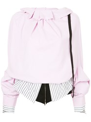 Aganovich Layered Oversized Sleeve Top Pink And Purple