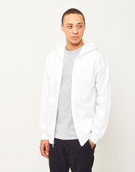 The Idle Man Classic Zip Through Hoodie White