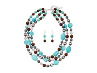 Mandf Western Turquoise Wood Crystal Necklace Earrings Set Multi Jewelry Sets