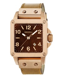 Brera 14K Rose Gold Plated Stainless Steel Two Hand Leather Watch Tan