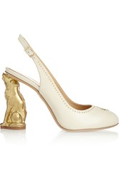 Charlotte Olympia Dancing In Heels Studded Leather Pumps White