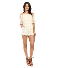 Bb Dakota Nikola Off The Shoulder Lace Romper Antique Ivory Women's Jumpsuit And Rompers One Piece Taupe
