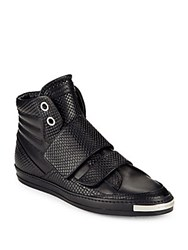Alessandro Dell'acqua Snake Leather High Top Sneakers Black