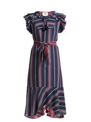 Figue Tessa Asymmetric Striped Silk Midi Dress Blue Multi