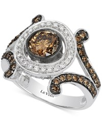 Le Vian Chocolatier Chocolate Deco Estate Diamond 1 1 2 Ct. T.W. Ring In 14K White Gold